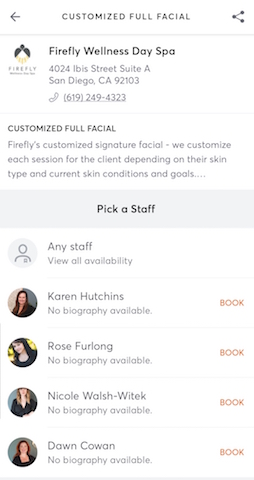 MindBody Booking Screen