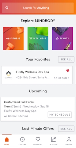 MindBody Home Screen